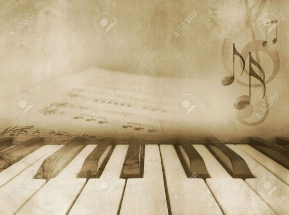 12604311-Grunge-musical-background-piano-keys-and-sheet-music-vintage-design-in-sepia-tone-Stock-Photo